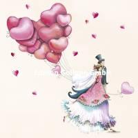 Carte Nina Chen Les Mariés et les ballons Coeur