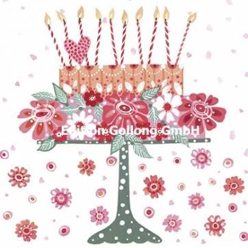 Carte Kerstin Hess Bon Anniversaire Le Gateau Fleuri