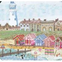 "Carte reproduction Patchwork tissu ""Plage et phare"""