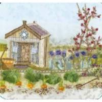 "Carte reproduction Patchwork tissu ""Cabane de Jardin"""