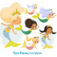 Carte reproduction d'aquarelle Les petites Sirènes