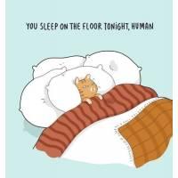 """Carte Chat """"Tu dors sur le sol ce soir, humain"""""""