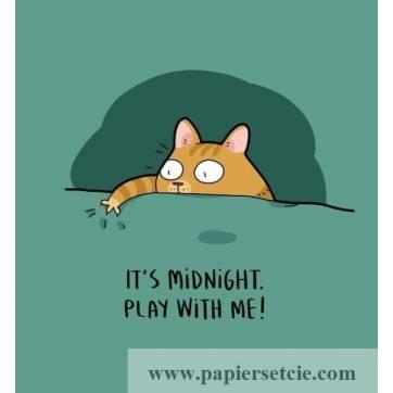 """Carte Chat """"C'est Minuit, Joue avec moi!"""""""
