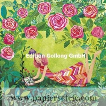 Carte Mila Marquis La jeune femme lisant sous les Roses