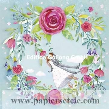 Carte Mila Marquis Les mariés et la couronne de Roses