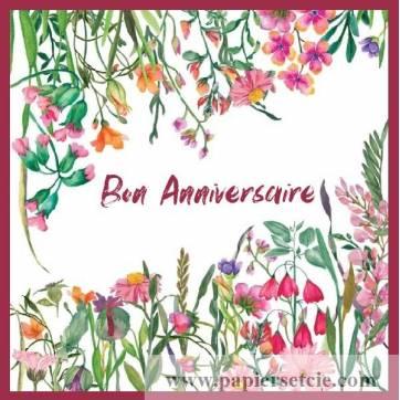 Carte Anniversaire Aquarelle Fleurs Des Champs Roses