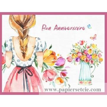 Carte Anniversaire Aquarelle Jeune Femme Blonde