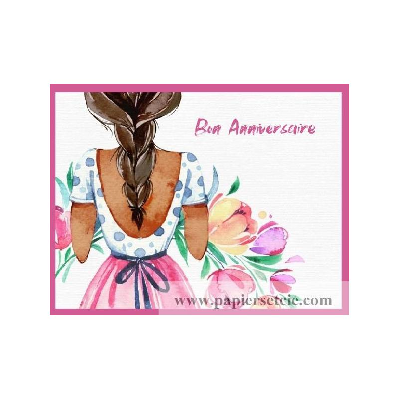 Carte Anniversaire Aquarelle Jeune Femme Brune