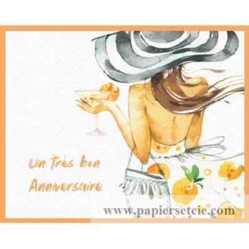 Carte Anniversaire Aquarelle Jeune Femme Au Chapeau