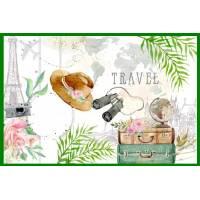 Carte Bon Voyage chapeau et valises