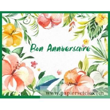 Carte Anniversaire Aquarelle Fleurs Exotiques Ines