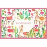 """Carte Anniversaire aquarelle """"Les jolis Lamas"""""""