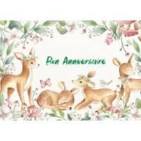 """Carte Anniversaire aquarelle  """"Bon Anniversaire mon Coeur"""""""