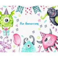 Carte Anniversaire enfants aquarelle Les Monstres