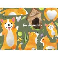 Carte Anniversaire enfants aquarelle Les petits chiens roux