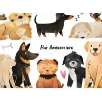 Carte Anniversaire enfants aquarelle  Les Chiens