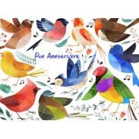 Carte Anniversaire enfants aquarelle Les oiseaux