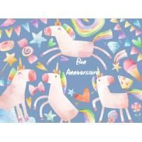 Carte Anniversaire enfants aquarelle Les Licornes