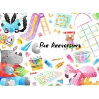 Carte Anniversaire enfants aquarelle Les Animaux et les jeux
