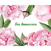 Carte Anniversaire aquarelle Pivoines roses Elisa