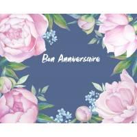 Carte Anniversaire aquarelle Pivoines roses fond bleu Manon