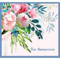Carte Anniversaire aquarelle Bouquet rose Emy