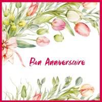 Carte Anniversaire aquarelle Bouquet de Tulipes Eva