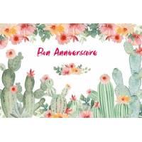Carte Anniversaire aquarelle Cactus et Fleurs roses Manon