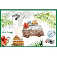 Carte Bon Voyage Mini Bus et valises