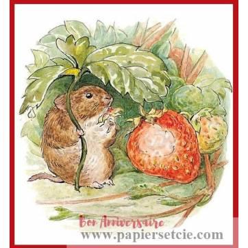 Carte Anniversaire Beatrix Potter Souris et Fraises