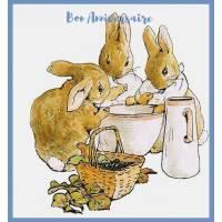 Carte Anniversaire Beatrix Potter Déjeuner de petits Lapins