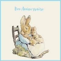 Carte Anniversaire Beatrix Potter Maman et Bébé Lapins
