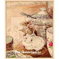 Carte Anniversaire Beatrix Potter Souris et Theière