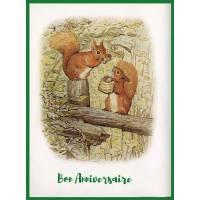 Carte Anniversaire Beatrix Potter Ecureuil et noisettes