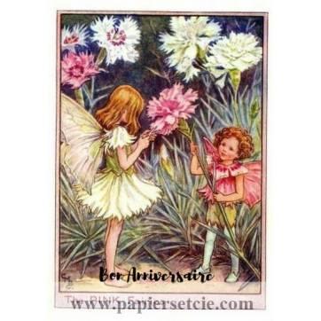 Carte Anniversaire Fées des Fleurs Oeillets