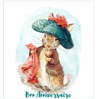 Carte Anniversaire Beatrix Potter Peter Rabbit et son bonnet vert