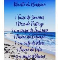 """Carte citation Bonheur:"""" """" Recette du Bonheur"""": 1 Tasse de Sourires,"""