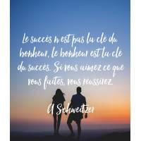 """Carte citation Bonheur:"""" Le succès n'est pas la clé du bonheur, le bonheur est la clé du succès..."""