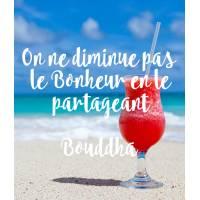 """Carte citation Bonheur:""""On ne diminue pas le Bonheur en le partageant """"Bouddha"""