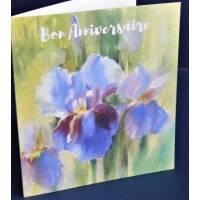 Carte Anniversaire double aquarelle Iris bleu clair