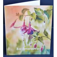 Carte Anniversaire double aquarelle Fushias