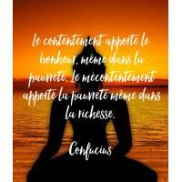 """Carte citation Bonheur:""""Le contentement apporte le bonheur, même dans la pauvreté."""""""