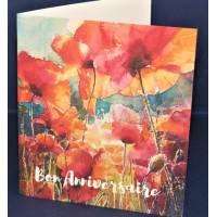 Carte Anniversaire double aquarelle Coquelicots sous le soleil