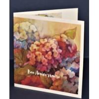 Carte Anniversaire double parfumée à la rose, motif Hortensias