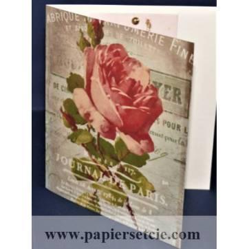 Carte double parfumée à la rose, motif Rose Journal de Paris