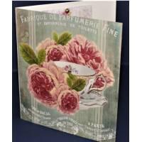 Carte double parfumée à la rose, motif Rose Parfumerie Fine