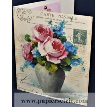 Carte double parfumée à la rose, motif Vase Roses et Myosotis