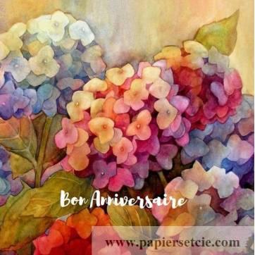 Carte Anniversaire aquarelle Hortensias colorés