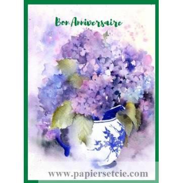 Carte Anniversaire aquarelle Vase d'Hortensias bleus