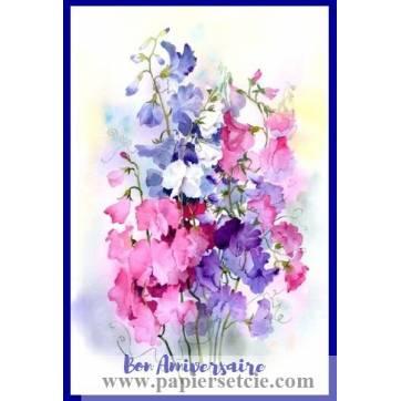 Carte Anniversaire aquarelle Pois de Senteur roses et bleus